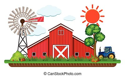 Scene with red barn and blue tractor