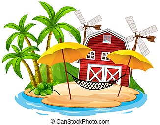 Scene with red barn and hammock on white background