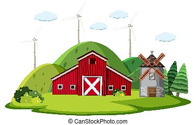 Scene with red barn and windmill on the farm