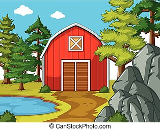 Scene with red barn by the pond