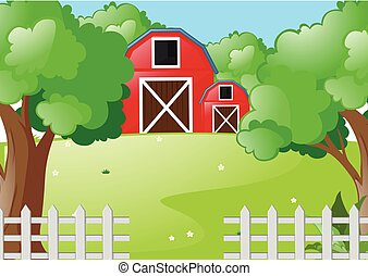 Scene with red barns in the farm