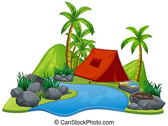 Scene with red tent by the river on white background