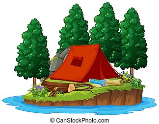 Scene with red tent in the woods on white background