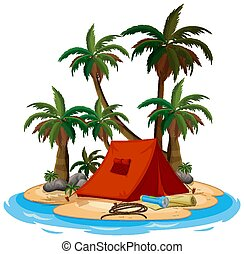Scene with red tent on the island on white background