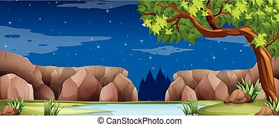 Scene with river and canyon at night