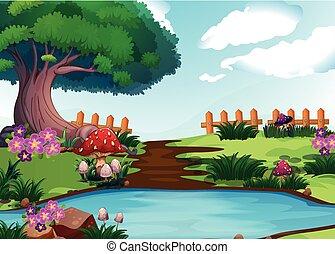 Scene with river in garden