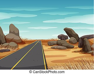 Scene with road in the dryland