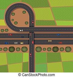 Scene with roads and farmlands