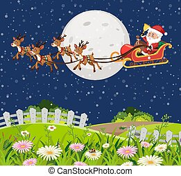 Scene with Santa on the sleigh flying over the green field at night