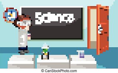 Scene with science teacher standing in classroom