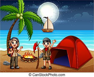 Scene with scout kid camping out on the beach at night