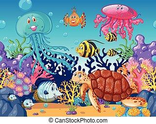 Scene with sea animals under the ocean