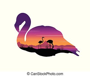 Scene with silhouette flamingo at sunset