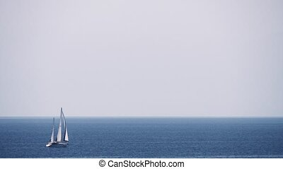 Scene with sky, sea and sailing yacht - White yacht sailing...