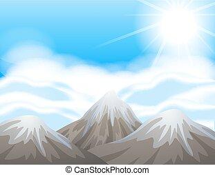 Scene with snow on mountain peaks