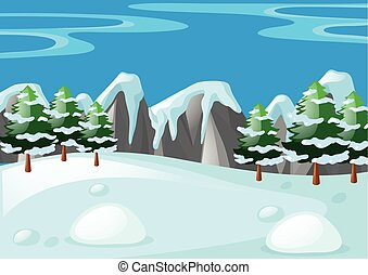 Scene with snow on the ground