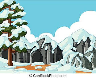 Scene with snow on the mountain