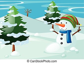 Scene with snowman in the snow field