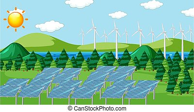 Scene with solar cells and turbines in the field