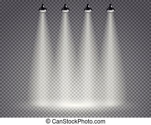 Scene with spotlights on transparent background
