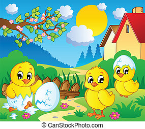 Scene with spring season theme 2 - vector illustration.