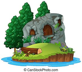 Scene with stone house on white background
