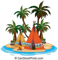 Scene with teepee and campfire on the island on white background illustration
