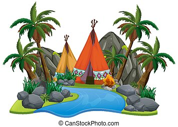 Scene with teepee by the river on white background