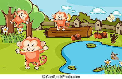 Scene with three monkeys in the park