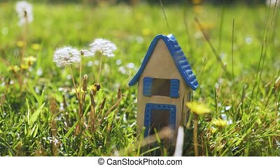 Scene with toy house in the grass representing eco-home -...