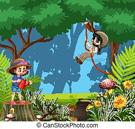 Scene with two girls having fun in the woods
