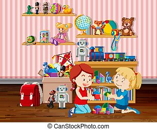Scene with two girls playing blocks in the room
