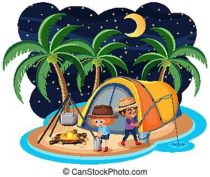 Scene with two kids camping out on the island at night