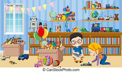 Scene with two kids playing toys in the room