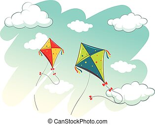 Scene with two kites in the sky