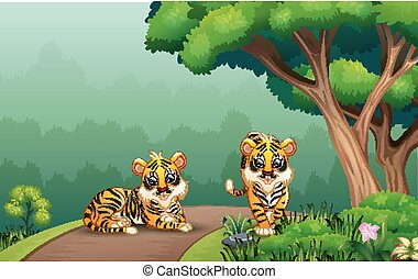 Scene with two tigers on the road