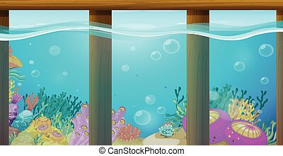 Scene with underwater and coral reef
