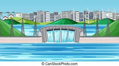 Scene with water dam in the city illustration