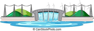 Scene with water dam with wind turbines on the hills