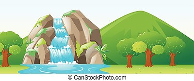 Scene with waterfall and forest