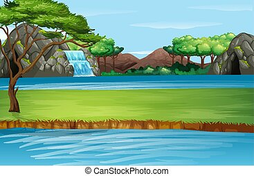 Scene with waterfall and river