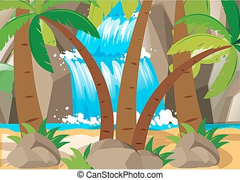 Scene with waterfall and tree