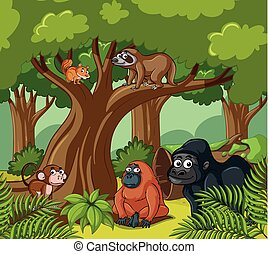 Scene with wild animals in the forest