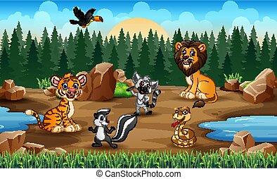 Scene with wild animals in the savanna field