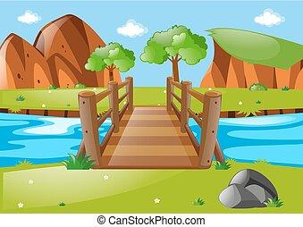 Scene with wooden bridge in park