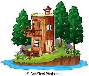 Scene with wooden house on white background