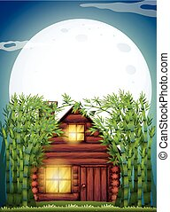 Scene with wooden hut at night