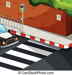 Scene with zebra crossing illustration