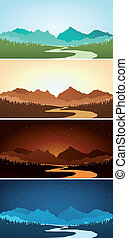 Sceneri, Bjerg, adskillige, farve