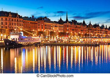 sceneri, stockholm, aftenen, sverige